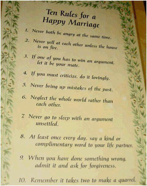 Rules For Happy Marriage